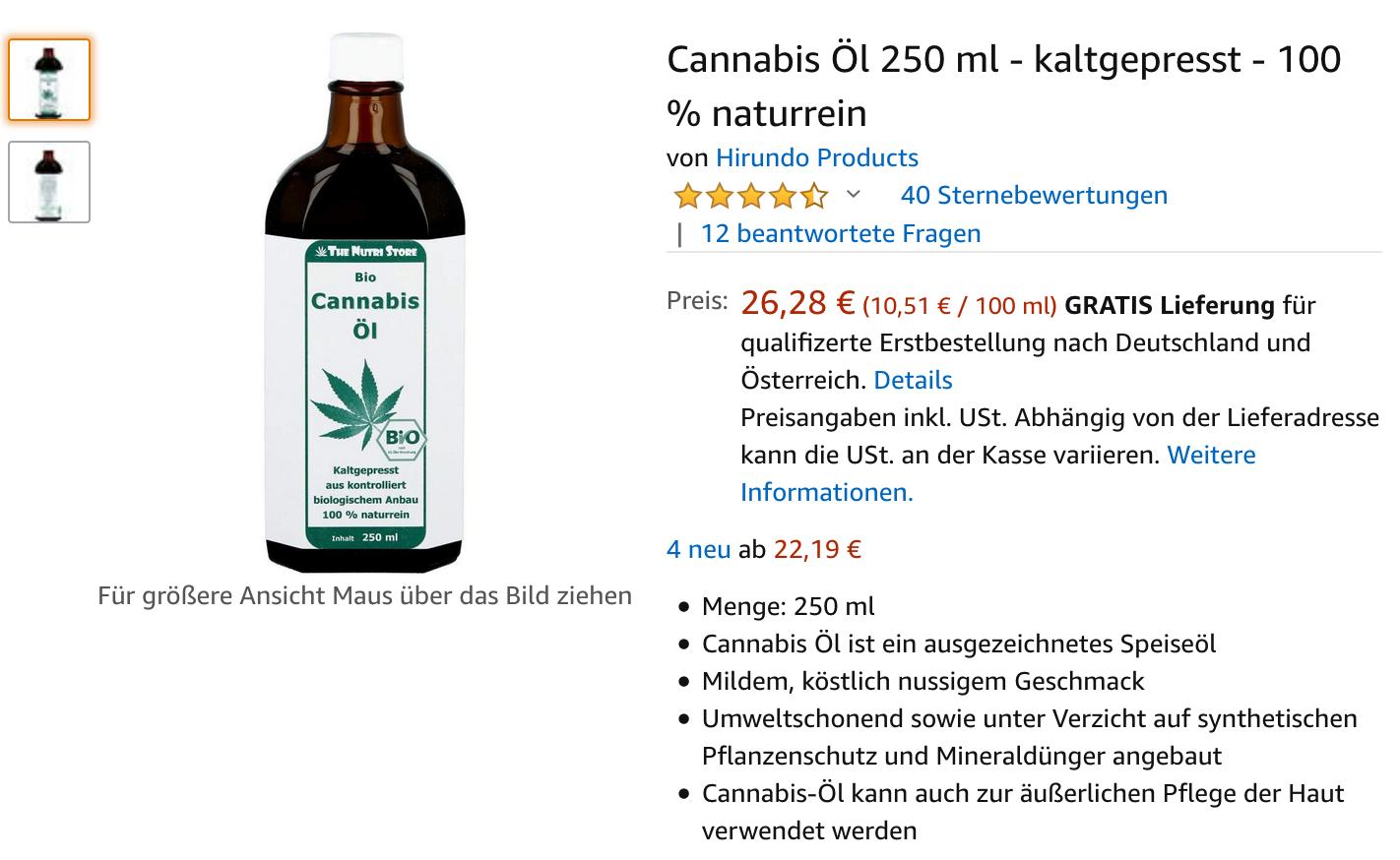 Cannabis Öl 250 ml - kaltgepresst - 100 % naturrein  - Jetzt auch in Deutschland Legal Bestellen via AMAZON