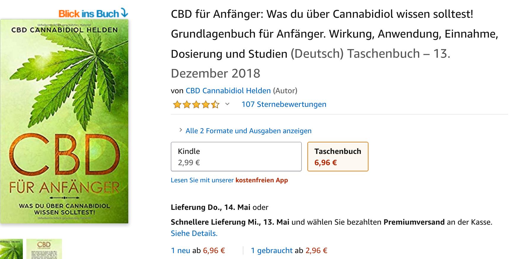 CBD Buch Cannabidiol Grundlagenbuch für Anfänger. Wirkung, Anwendung, Einnahme